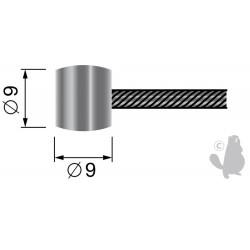 Câble souple 19 fils à embout tonneau 9 x 9mm. L. totale: 2500mm