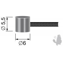 Câble souple 19 fils à embout tonneau 6 x 5,5mm